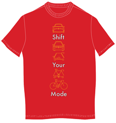 Shift Your Mode - the official Mass Commute Bike Challenge t-shirt